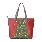 BENNIGIRY Women Large Tote Top Handle Shoulder Bags Christmas Tree Patern Ladies Handbag