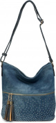 styleBREAKER hobo bag jeans bag with rhinestone, zipper compartment, tassels pendant, shopping bag, messenger bag, handbag, ladies 02012185, colour:Blue / Dark Blue