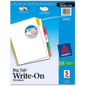 Big Tab Write-On Dividers w/Erasable Laminated Tabs, Clear, 5/Set
