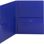 Poly Two-Pocket Folder With Security Pocket, 8-1/2 x 11, Blue, 5/Pack