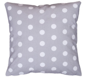 Amilian® Handcrafted Decorative Polka-Dot Print Grey 100% Cotton Premium Quality Durable Throw Cushion Cover Pillowcase Only 40 cm x 40 cm