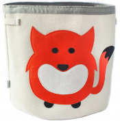 Grey Bee Animal Theme Large Collapsible Canvas Fabric Storage Bin | Play room or Nursery Hamper, toy box | Red Fox