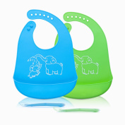 Norjews Baby Bibs Set of 2 Colours, Easily Wipes Clean, Waterproof Silicone Bib Keep Stains Off, Spend Less Time Cleaning after Meals with Baby, with 2 pcs Baby Spoons …
