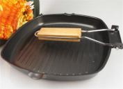 FFJTS Foldable Square Steak Frying Pan / Non-Stick / Pan Wok Baking Pan - 24CM Black Cast Iron