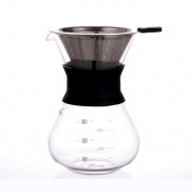 ZHAOJING Hand Punch Coffee Pot Drip, Coffee Funnel Pot Filter Cup Glass Drip Pot Share Coffee Pot 400ml