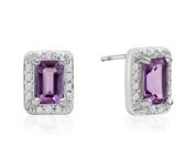 1 Carat Emerald Shape Amethyst and Halo Diamond Earrings