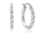 Diamond Twist Hoop Earrings, 1.3cm
