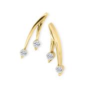 1/4ct Diamond Olive Branch Earrings, 14k Yellow Gold