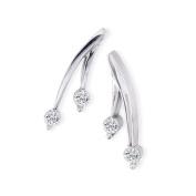 1/4ct Diamond Olive Branch Earrings, 14k White Gold