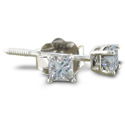 1/3ct Princess Diamond Stud Earrings In 14k White Gold, Good Colour And Clarity