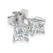 3/4ct Princess Diamond Stud Earrings In 14k White Gold, G/H, SI