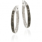 DB Designs Sterling Silver 1/10ct TDW Black Diamond Oval Hoop Earrings