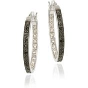 DB Designs Sterling Silver 1/10ct TDW Black Diamond 25-mm Hoop Earrings