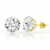 E & H Cubic Zirconia Gold Round Stud Earrings
