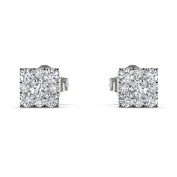 Imperial 1/5Ct TDW Diamond Sterling Silver Square Frame Cluster Stud earrings