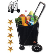 MegaCart Fold-Up Collapsible Folding Grocery, Laundry, Shopping and Utility Cart, Black with Liner