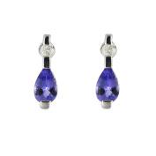 Ivy Gems 9ct White Gold Tanzanite and Diamond Earrings