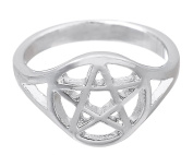 Men's Wiccan Pentacle Pentagram Ring Witchcraft Pagan Women Wide Band Ring Size 7.5