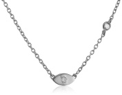 "Shy By Sydney Evan Silver White White Rhodium Plated ""Evil Eye"" Necklace with Diamond Bezel of 41.275cm"