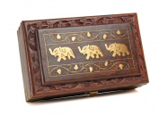 Indiabigshop Wooden Jewellery Box Brass Inlay Unique Elephant Design 20cm X 13cm , Special Gift for Christmas or Birthday to Your Loved Ones