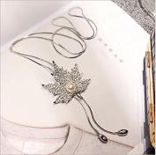 RICISUNG Women Cubic Zirconia Flower Long Adjustable Chain Pendant Sweater Necklace