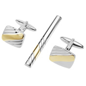 CUFF IT Cufflinks and Tie Slide Pin Set Two Tone Etched Lines Mens Accessories Jewellery Sets