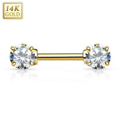 14 K Gold Nipple Piercing with Crystal