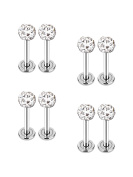 4 Pairs 16 Gauge Stainless Steel Nose Studs Helix Lips Crystal Tragus Labret Bars Body Piercing