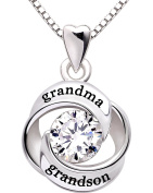 ALOV Jewellery Sterling Silver grandma and grandson Love Heart Cubic Zirconia Pendant Necklace by ALOV Sterling Silver