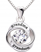 ALOV Jewellery Sterling Silver grandma and grandson Love Heart Cubic Zirconia Pendant Necklace by ALOV Sterling Silver