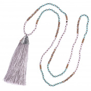 KELITCH Bohemian Ethnic Crystal Beaded Tassel Pendant Necklace