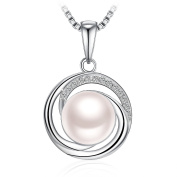 """Christmas Pearl Necklace for Women,925 Sterling Silver Freshwater Cultured Pearl Zirconia J.Rosée Jewellery """"Apple of the Eye"""" Best Gift for Ladies/Wife/Girlfriend/Daughter with Gift Packed"""