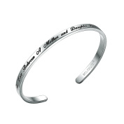 """SOLOCUTE Cuff Bangle Bracelet Engraved """"The Love Between A Mother and Daughter Knows No Distance"""" Inspirational Jewellery, Perfect Gift for Christmas Day, Anniversary Day, Thanksgiving Day and Birthday"""
