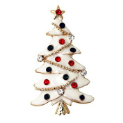 Festive Gold Tone Diamante White Enamel Christmas Tree Brooch Pin Red Green Baubles