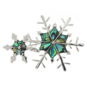 Brooches Store Abalone Paua Shell Green Double Snowflake Brooch