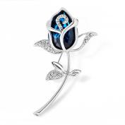 Merdia Blue Created Crystal Brooch Woman's Classy Rose Flower Brooch Pin