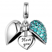 I Love You - Silver Heart Crystal Charm Bracelet Bead - Sterling Silver 925 Blue CZ Crystals - Gift boxed