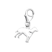 Dog Shaped Charm with Clip On Clasp - 925 Sterling Silver - Size