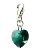 Emerald Heart Clip Charm made with Sterling Silver and Crystals from