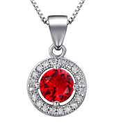 "J.SHINE 925 Sterling Silver Necklace Women with 3A 6mm Cubic Zirconia Round Button Pendant Italy 18"" Chain 8 Colour"