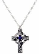 St Justin, Pewter St Petroc Cross Necklet - Lapis Lazuli
