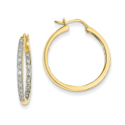 14k AA Quality Completed Diamond In/Out Hoop Earrings