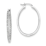 14k White Gold AA Quality Completed Diamond In/Out Hoop Earrings