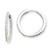 14k White Gold In & Out Diamond Hoop Earrings