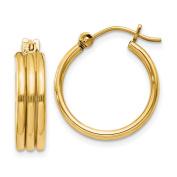 14k Yellow Gold Triple Tube Hoop Earrings - 2.8 Grammes