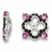 Sterling Silver Created Pink Sapphire & Black Sapphire Earring Jacket