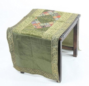 Handcrafted Vietnamese Embroidered Silk Table Runner