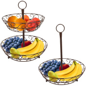 Sorbus 2-Tier Countertop Fruit Basket Holder & Decorative Bowl Stand—Perfect for Fruit, Vegetables, Snacks, Household Items, and Much More