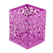 Fuchsia Rectangle Hollow Flower Pattern Pen Pencil Stationery Holder Stand