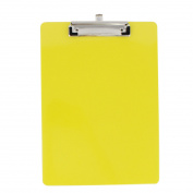 Office School Plastic A4 Paper File Note Writing Holder Clamp Clip Board Yellow